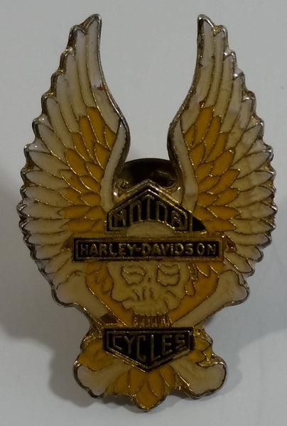 Harley Davidson Motor Cycles Wings Skull and Cross Bones Enamel Metal Lapel Pin