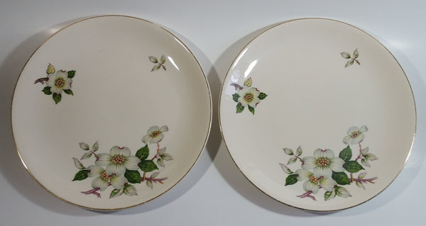 "Vintage Johnson Bros Jasmine or North Carolina Piedmont Style White Flowers Gold Rimmed 10"" Diameter Dinner Plates Set of 2"