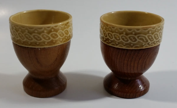 Set of 2 Vintage Tan Glazed Ceramic Pottery Egg Cups with Wooden Base