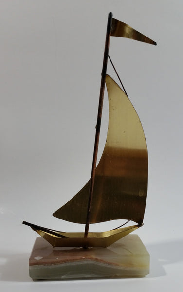 Vintage Art Deco Brass Sailing Ship on a Marble Base Nautical Statue Decor