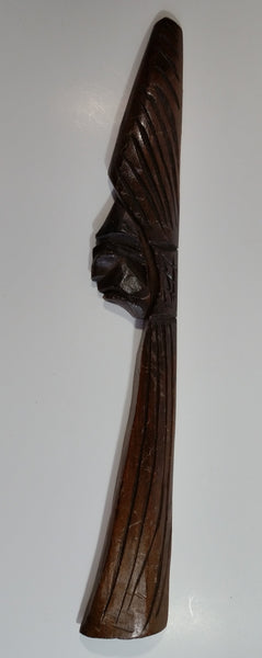 "African Wood Carved 17 1/2"" Tall Face Decorative Wall Hanging"