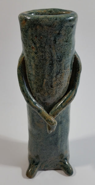 "Dark Green Glazed Cactus Hands Crossed 7"" Tall Pottery Vase"