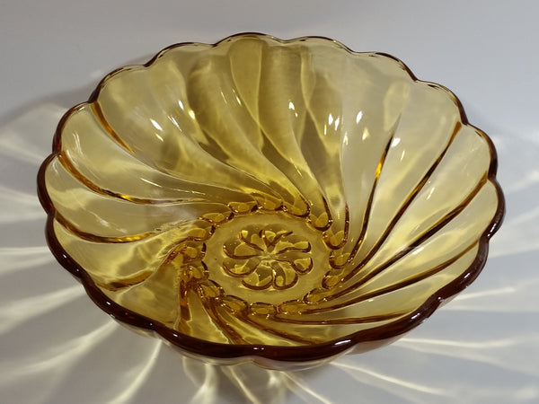 "Vintage 9"" Diameter Hazel Atlas Yellow Amber Swirl Depression Glass Fruit Dessert Bowl"