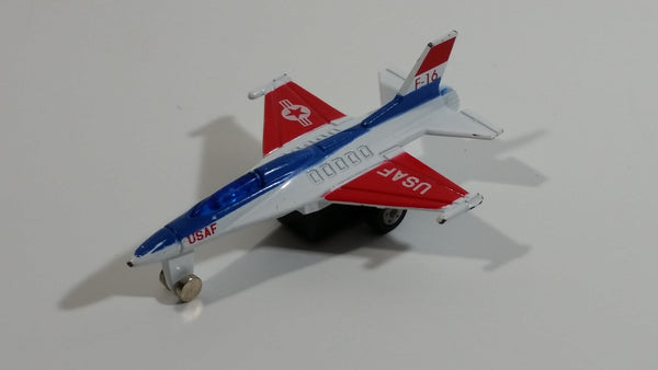 USAF F-16 Fighter Jet Red White Blue Pullback Motorized Friction Die Cast Toy Car Vehicle