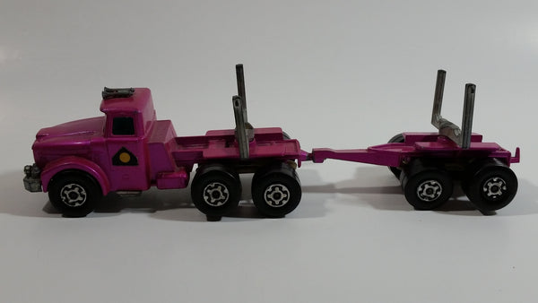 Vintage 1971 Lesney Matchbox Super Kings Scammel Contractor Purple Pink Semi Log Hauling Truck Pink Purple Die Cast Toy Car Vehicle
