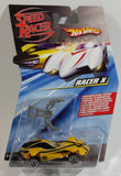 2008 Hot Wheels Speed Racer Movie Racer X Spear Hooks Yellow Plastic Die Cast Toy Car Vehicle Y5 - New in Package Sealed
