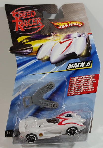 2008 Hot Wheels Speed Racer Movie Mach 6 Saw Blades White Plastic Die Cast Toy Car Vehicle OH5 - New in Package Sealed