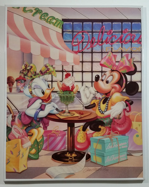 "1986 Disney Minnie Mouse & Daisy Duck Ice Cream Parlour Delicious Flavor 15 3/4"" x 19 3/4"" Framed Print By Artist Greg Wray"