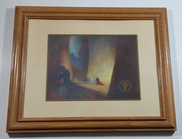 "1991 Walt Disney Studios Fantasia 50th Anniversary Mickey Mouse Authentic Commemorative Lithograph Wood Framed Print 13 1/4"" x 16 1/2"""
