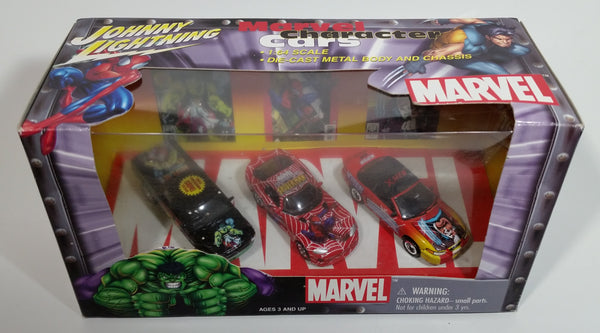 2002 Johnny Lightning Marvel Character Cars Spider-Man Viper, Wolverine Mustang, Hulk Dodge Ram Die Cast Toy Car Vehicles New in Box