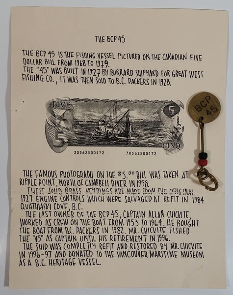 Original Piece of History Made From The Controls of The BCP 45 Boat Brass Metal Keychain from The $5 Dollar Canadian Paper Bill with Informational Paper