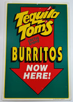 "Tequila Tom's Cactus Brand Burritos Now Here! 16"" x 24"" Plastic Convenience Store Food Advertising Double Sided Sign"