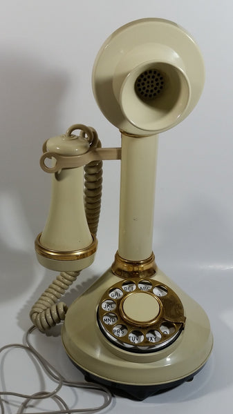 Vintage 1970s Decotel White Ivory Candle Stick Rotary Telephone Phone
