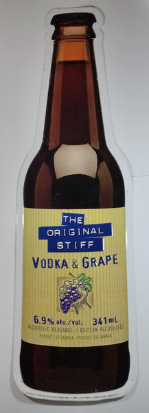 "The Original Stiff Vodka & Grape 44"" Tall Large Embossed Tin Metal Bottle Shaped Advertising Sign"