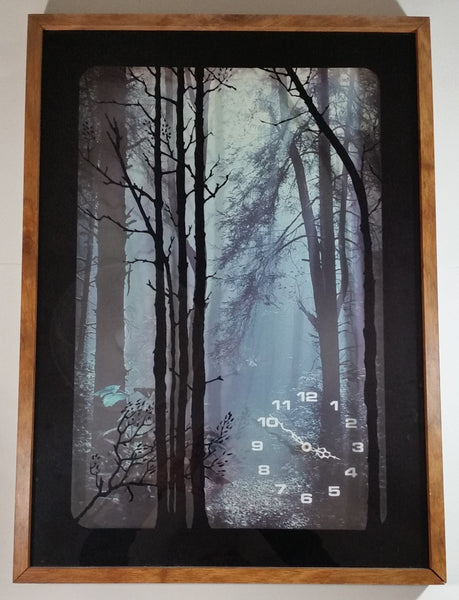 "Vintage 1970s Elgin Dark Foggy Forest Tree Themed 21"" x 29"" Shadow Box Clock"