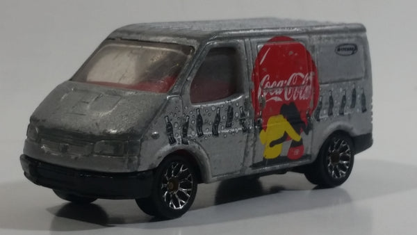 1995 Matchbox Coca-Cola Coke Soda Pop Silver Ford Transit Van Die Cast Toy Car Vehicle 1:63 Scale