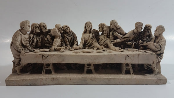 Vintage The Last Supper Jesus Highly Detailed Hand Carved Resin Christianity Sculpture Made in Italy
