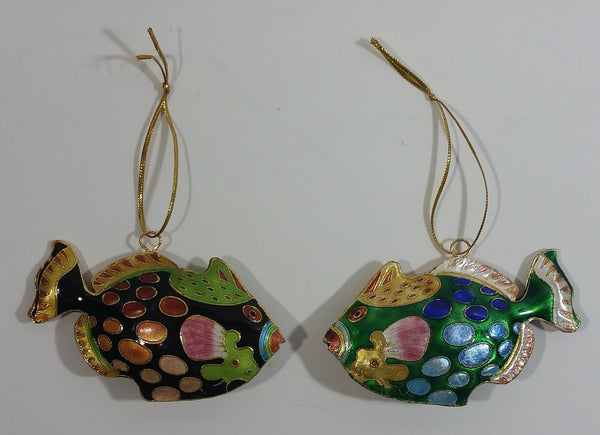 Set of 2 Handmade Cloisonne Enamel on Metal Gourami Style Colorful Tropical Fish Ornaments