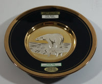 "Vintage Rare Art of Chokin Earth Day Wildlife Series Collections Polar Bears Thalarctos maritimus Black and Silver with 24K Gold Trim 6 1/2"" Diameter Decorative Collector Plate"