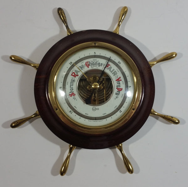 "Vintage Barigo 7 3/4"" Captain's Ships Wheel Wood Cased Barometer"