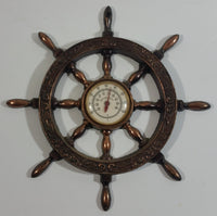 "Vintage Captain's Ships Wheel 6 1/4"" Diameter Copper Toned Metal Thermometer"