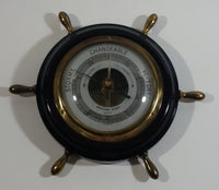 Vintage JG Gischard Aneroid Ships Wheel Barometer - Wood, Brass, Metal Face - Germany
