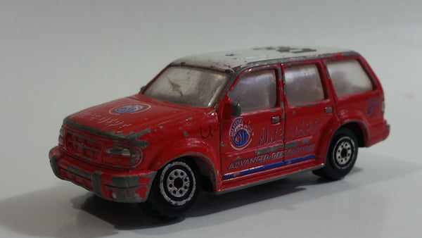 RealToy Ford Explorer Fire Dept Emergency Advanced Detachment 08 Red Die Cast Toy Car Firefighting Rescue Vehicle