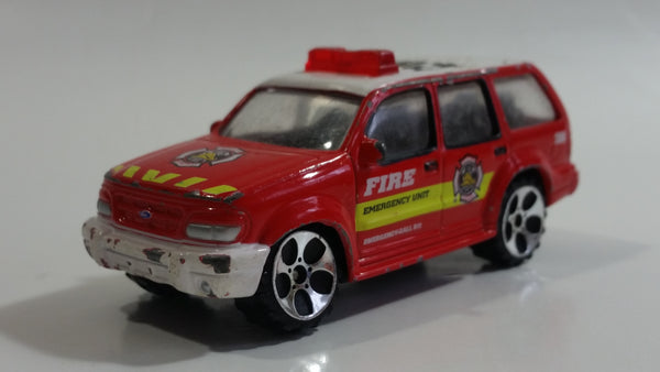 RealToy Ford Explorer Fire Dept Emergency Unit 280 Red Die Cast Toy Car Firefighting Rescue Vehicle