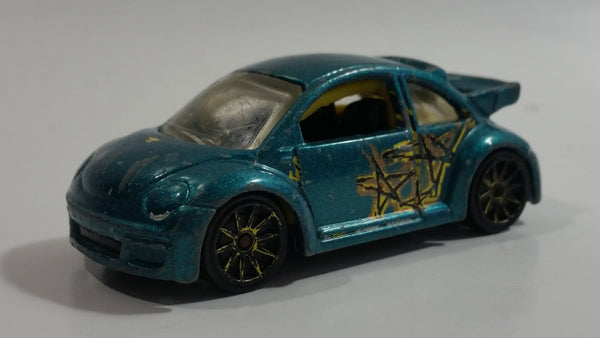 2007 Hot Wheels Pop-Offs Volkswagen New Beetle Cup Metalflake Teal Die Cast Toy Car Vehicle