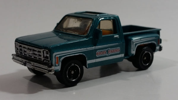 2008 Matchbox Bros Farms 1975 Chevy Stepside Truck Blue Green Die Cast Toy Car Vehicle