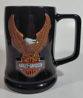 "2002 Harley Davidson Motor Cycles ""The Eagle Soars"" 3D Embossed Black and Orange Ceramic Coffee Mug Cup"