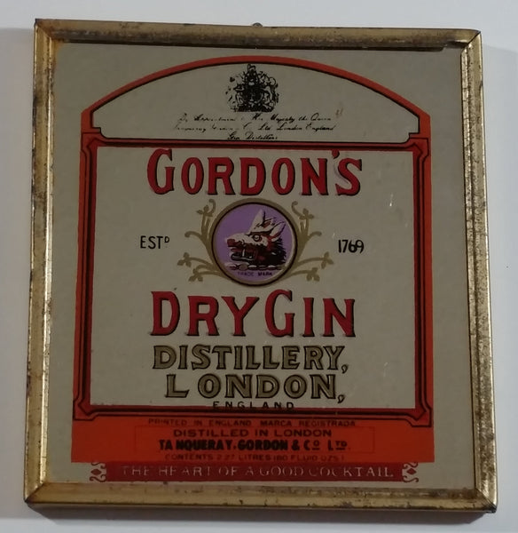 "Vintage Gordon's Dy Gin Distillery, London, England ""The Heart Of A Good Cocktail"" Small 5 1/2"" x 5 3/4"" Metal Framed Glass Mirror Advertisement"