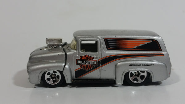2001 Hot Wheels '56 Ford F-100 Panel Van Truck Harley Davidson Motor Cycles Die Cast Toy Car Hot Rod Vehicle with Opening Hood