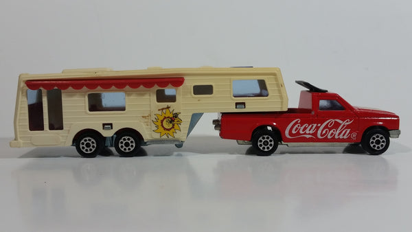 Vintage Majorette Coca-Cola Coke Camping Car Truck Red and 5th Wheel Trailer Camping Car Deluxe Cream White Die Cast Toy Car Vehicle Set No. 278 & No. 313 1/60 Scale