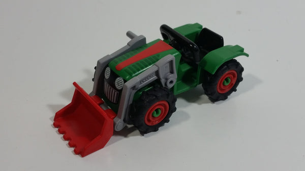 2014 Geobra Playmobil Green and Red Farm Tractor Plastic Toy Vehicle