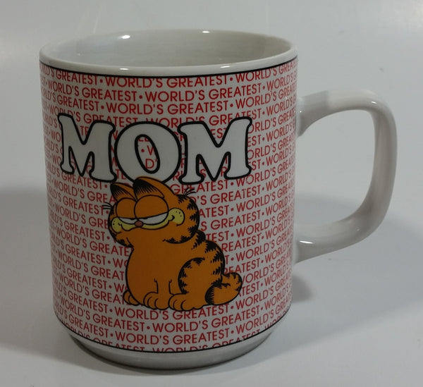 "Vintage 1978 Enesco United Features Syndicate Jim Davis ""World's Greatest Mom"" Garfield Ceramic Coffee Mug E-7416"