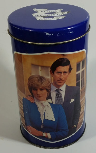 Regency Ware Prince Charles & Lady Diana Royal Wedding 29th July 1981 Blue Cylindrical Tin Metal Container