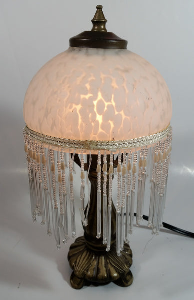 "Frosted Glass Beaded Shade 12"" Tall Brass Bass Table Lamp"