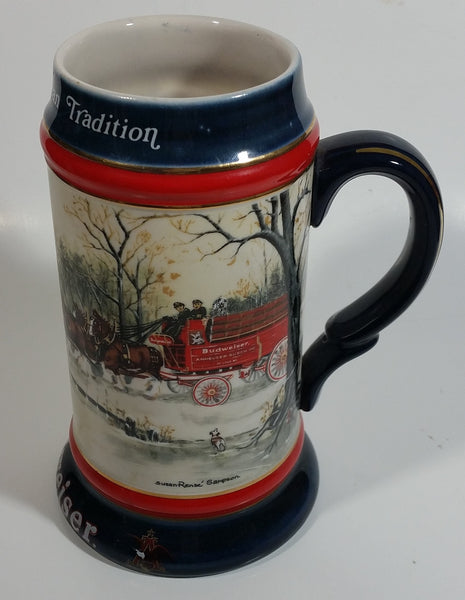 1990 Budweiser Holiday Stein Collection An American Tradition Ceramic Beer Stein By Artist Susan Sampson - Handcrafted in Brazil by Ceramarte