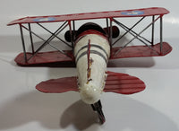 Vintage Style Red and White Bi-Plane Large Tin Metal Military Airplane