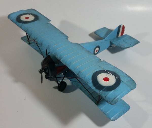 Vintage Style Sky Blue Bi-Plane Large Tin Metal Military Airplane