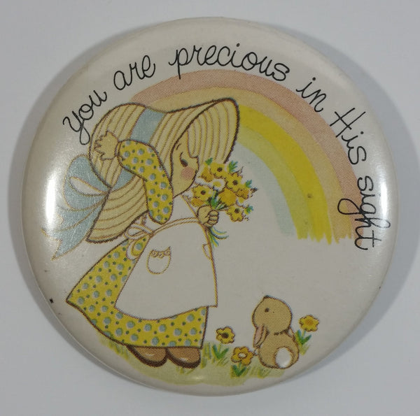 """You are precious in this sight"" Cute Girl Holding Flowers with Bunny Under Rainbow 2 1/4"" Diameter Round Button Pin"