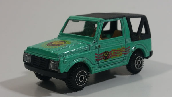 Rare 1986 Edocar Suzuki Samurai Jimny Watersports Diving Club Aqua Green with Black Roof Die Cast Toy Car Vehicle