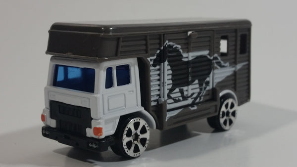 Motor Max No. 6037 Horse Box Truck Dark Grey Die Cast Toy Car Vehicle with Opening Side Door