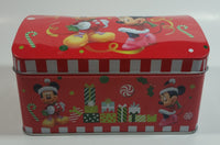Disney Mickey Mouse and Minnie Mouse Christmas Themed Hinged Tin Metal Container
