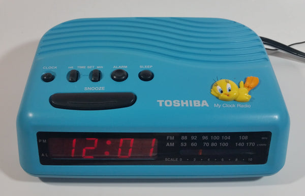 1998 Toshiba Warner Bros. Tweety Bird Blue Radio Alarm Clock