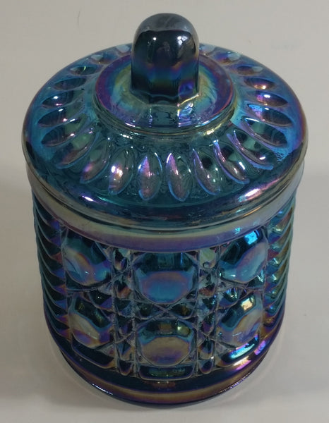 "Vintage Indiana Windsor Blue Purple Iridescent Rainbow 4 3/4"" Tall Carnival Glass Sugar Bowl with Lid"