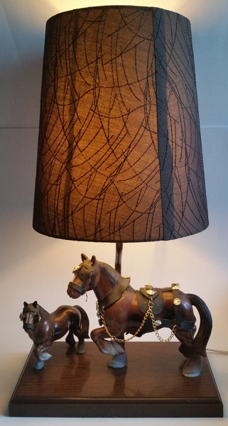 "Vintage Gilbert Products Clydesdale Horse 19"" Tall Table Lamp Light"
