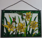 "Beautifully Designed Hummingbirds Feeding on Yellow and White Flowers 12"" x 18"" Metal Framed Stained Painted Glass Window Pane Sun Catcher"