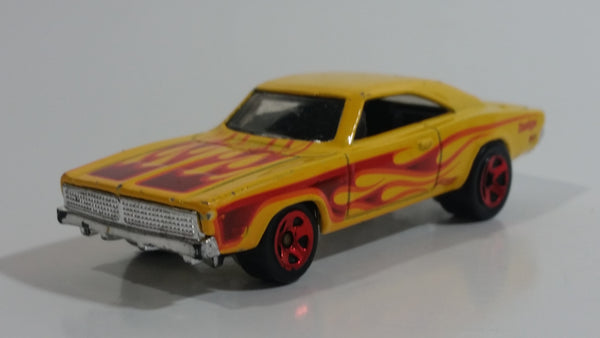 2016 Hot Wheels HW Flames '69 Dodge Charger Yellow Die Cast Toy Muscle Car Vehicle